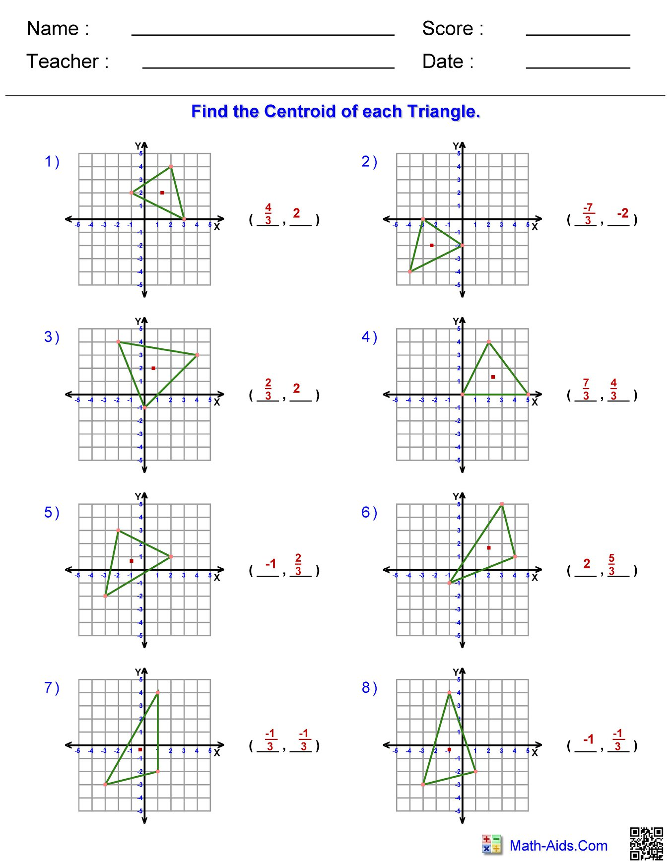 Triangle Centroid Worksheet 1 Answers Hoeden At Home