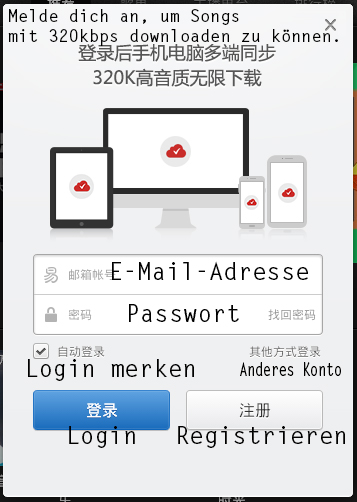 Anmelden mit E-Mail - Netease Cloud Music übersetzt deutsch full free download crack