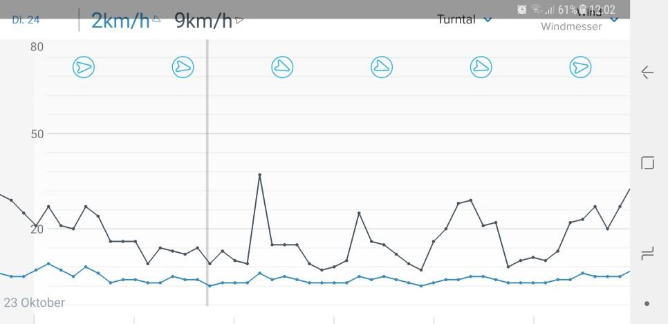 Die Windstärke und Richtung im Diagramm