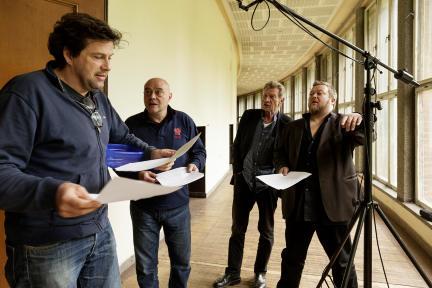 Hans-Jochen Wagner, Steve Karier, Dieter Fischer und Martin Engler bei den Aufnahmen zu