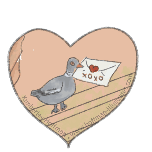 My Uncle Fritz didn't get to know his Anneliese via carrier pigeon but as a pen pal through the mail. Illustration of a carrier pidgeon with a love letter