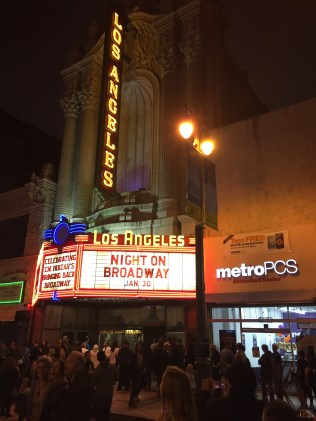 The marquee of the Los Angeles Theater. Photo by Christian Meola.