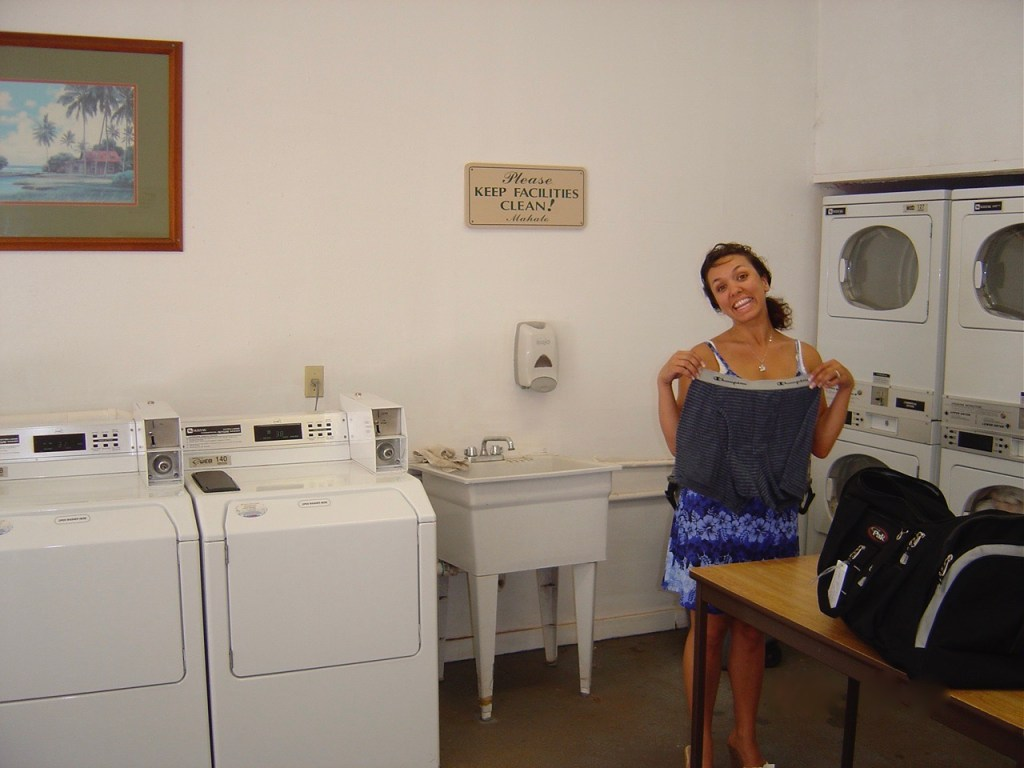 Laundry room in Maui.  Monica proudly displays her husband's underwear.