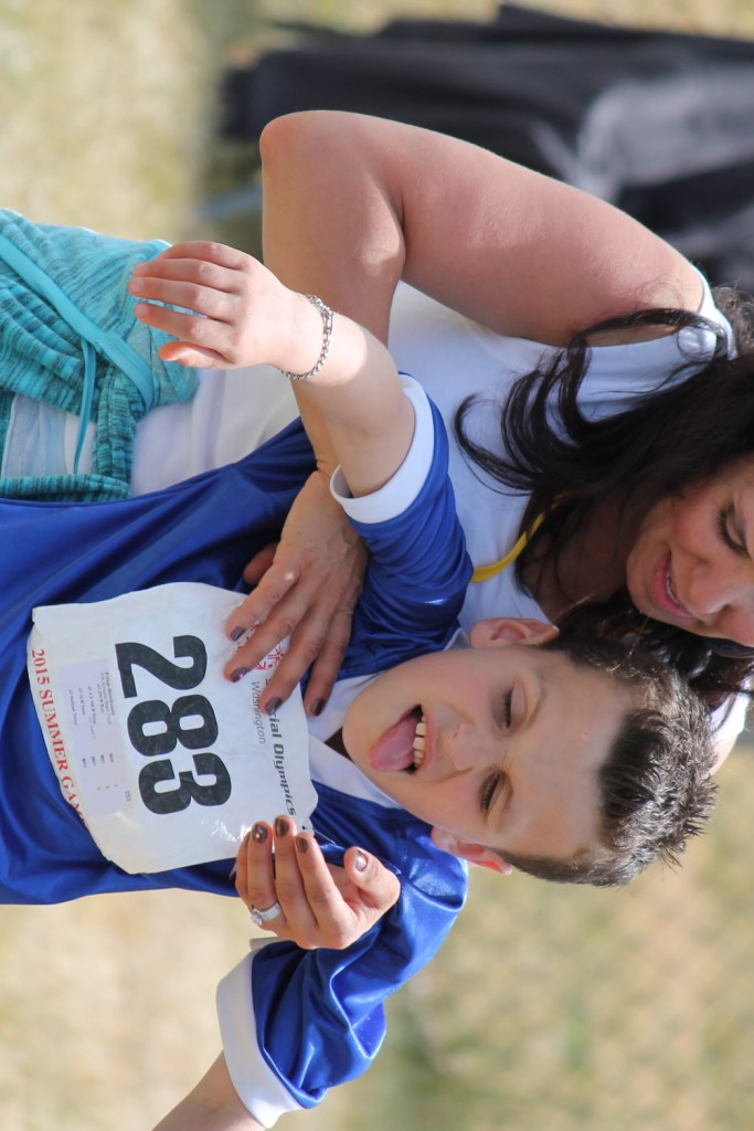 Parker struggles to give a good effort at the Special Olympics in Tacoma, Washington.