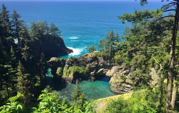 Samuel H. Boardman State Scenic Corridor has several rock arches, the beautiful Indian Sands Trail, and is perhaps the most attractive stretch of the Oregon Coast.
