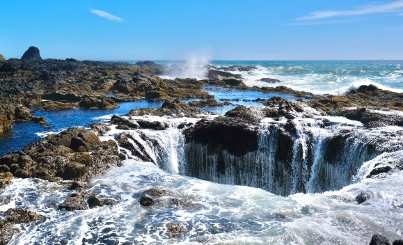 Thor's Well is a well-known feature in Cape Perpetua.  It is perhaps the second most recognizable feature of the Oregon Coast.