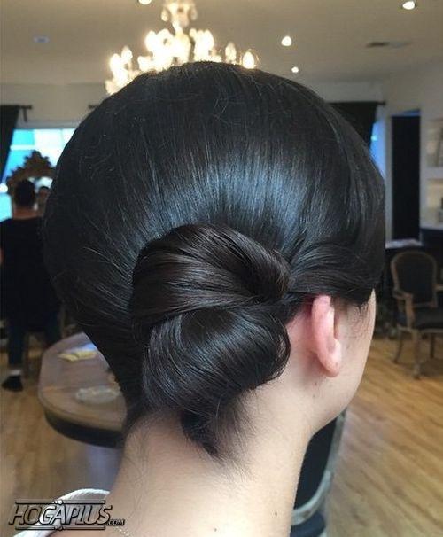 Sleek Side Bun Hairstyle For Short Hair