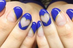 Blue heart Nail Art Idea