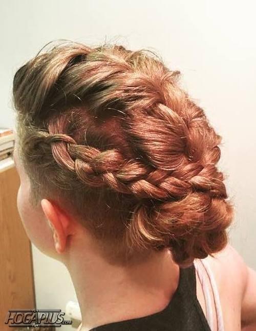 Interlocking Braid Bun Hairstyle For Short Hair