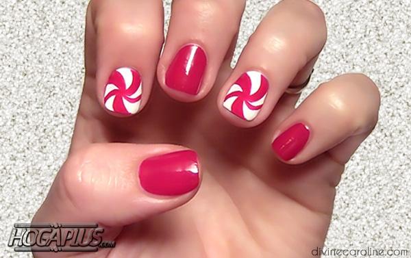 Candy cane Nail Art Design