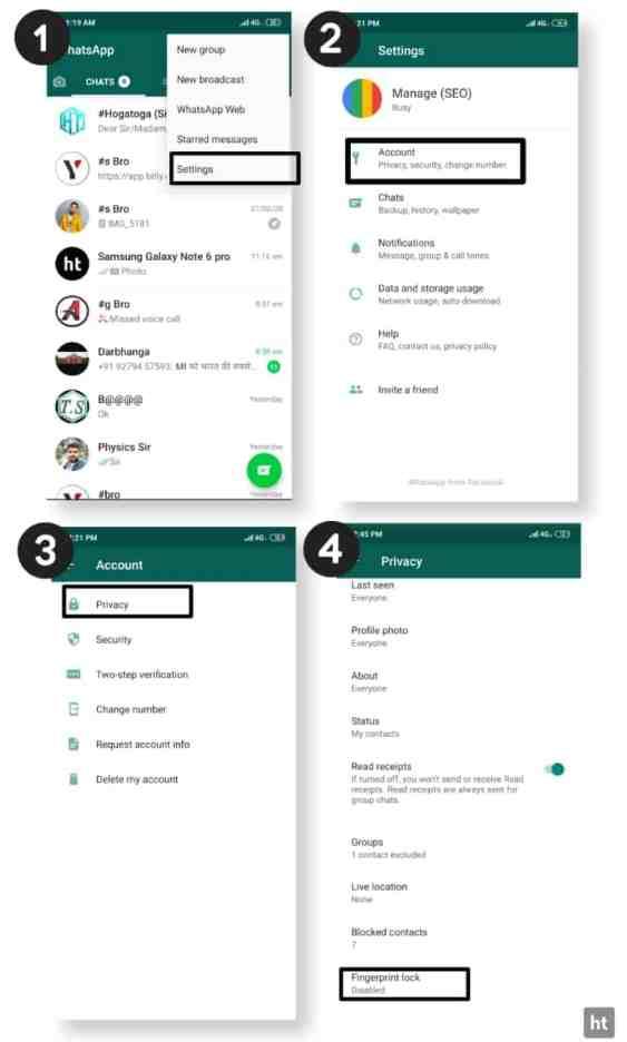 Whatsapp fingerprint lock features