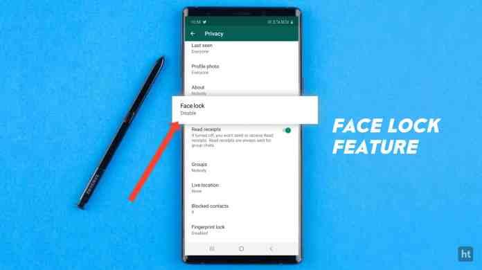 Enable WhatsApp Face Lock