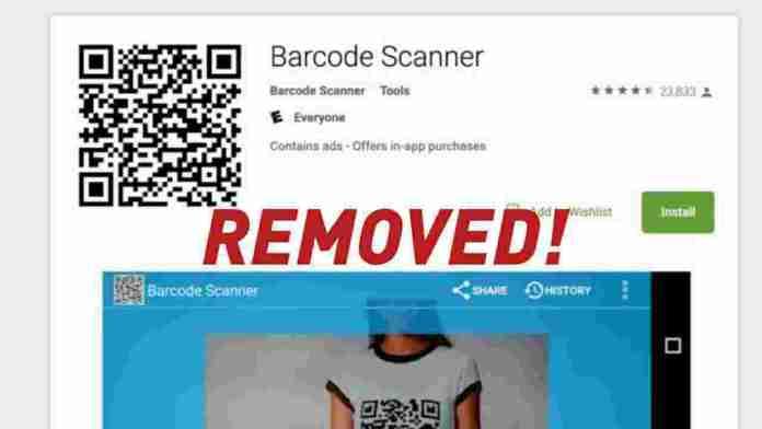 Google removed Barcode scanner