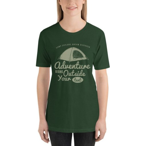Adventure Begin Outside Your Tent mockup Front Womens Forest