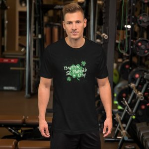 Happy St Pats Day mockup Front Mens Lifestyle Black