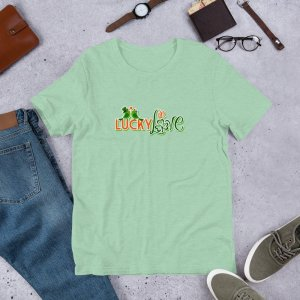 Lucky in Love mockup Front Flat Lifestyle Heather Prism Mint