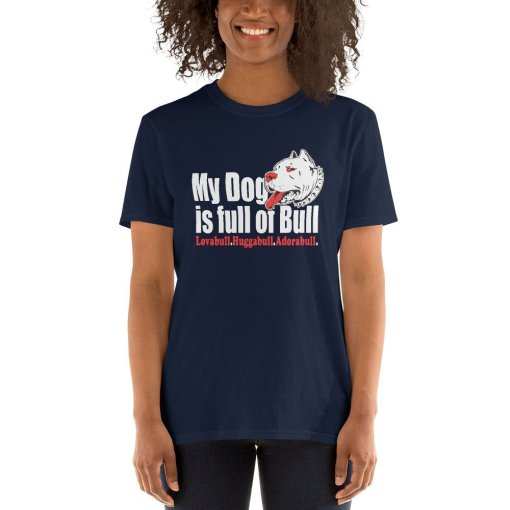 My Dog is Full of Bull mockup Front Womens 2 Navy