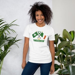 St Pats Flags mockup Front Womens Lifestyle 2 White