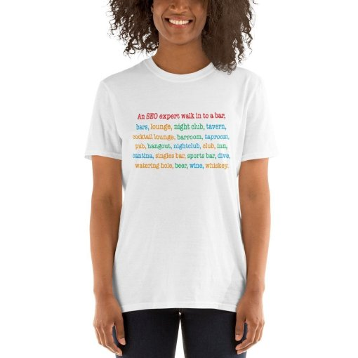 an seo expert walks in to a bar colors mockup Front Womens 2 White