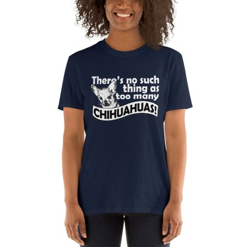 theres no such thing as too many chihuahuas mockup Front Womens 2 Navy