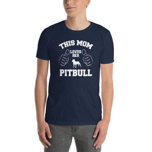 this mom loves her pitbull mockup Front Mens Navy