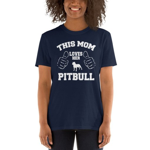 this mom loves her pitbull mockup Front Womens 2 Navy