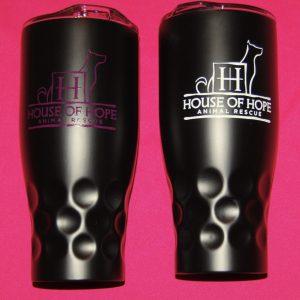 Both pink white mugs