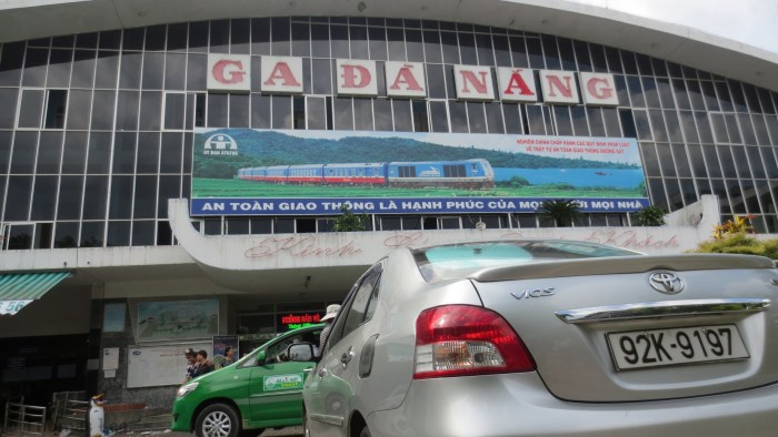 Danang train station with our private car welcome us