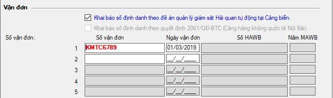 Khai vận đơn áp dụng mã định danh