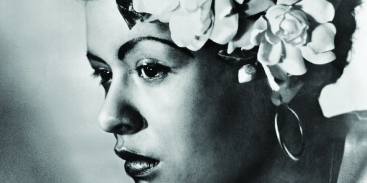 1938, Manhattan, New York City, New York State, USA --- Original caption: New York City: Billie Holiday - A 1938 portrait, when she appeared at Cafe Society in NYC with a swatch of gardenias in hair hairstyle, which from then on became her trademark. --- Image by © Underwood & Underwood/Corbis