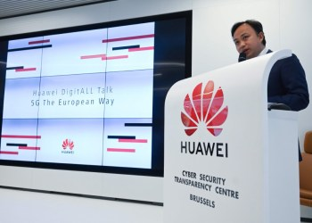 Huawei Chief Representative to the European Institutions Abraham Liu addresses a press conference at Huawei Cybersecurity Center on May 21, 2019 in Brussels. - Washington last week imposed a ban on the sale or transfer of American technology to the firm which could impact hundreds of millions of Huawei phones and tablets around the world. (Photo by EMMANUEL DUNAND / AFP)