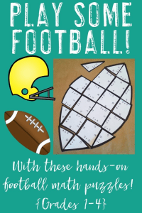 Let your 1st, 2nd, 3rd, and 4th grade classroom or homeschool students get some great math fact practice in with these engaging, hands-on math puzzles! You can choose to have them work on addition, subtraction, multiplication, or division facts. Great for high school football season in the fall, college football, or even the NFL. Can you say Super Bowl Sunday?? Great for math centers or stations, review, morning work, early or fast finishers, and more! {first, second, third, fourth grader}