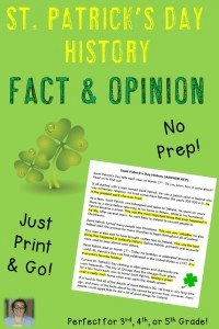 Upper elementary students like to celebrate holidays too! Use St. Patrick's Day as a day to review fact and opinion with this no prep printable! Students in your 3rd, 4th, or 5th grade classroom will LOVE getting to do something to celebrate Saint Patrick's Day, even if there is some work involved. Click through to purchase your copy today! $