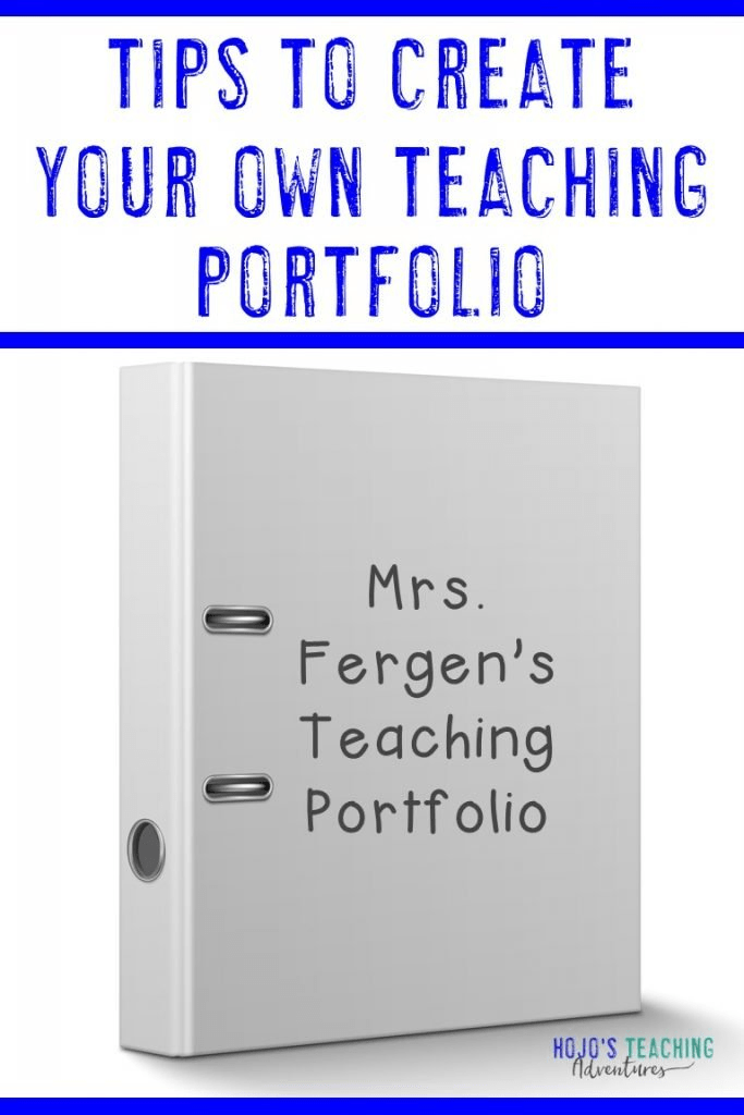 """Tips to Create Your Own Teaching Portfolio"" with Mrs. Fergen's binder on the front"