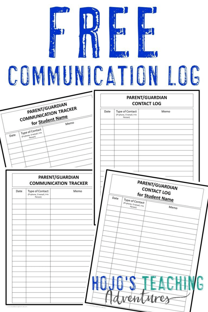 """image showing the four communication log options with the text """"FREE Communication Log"""""""