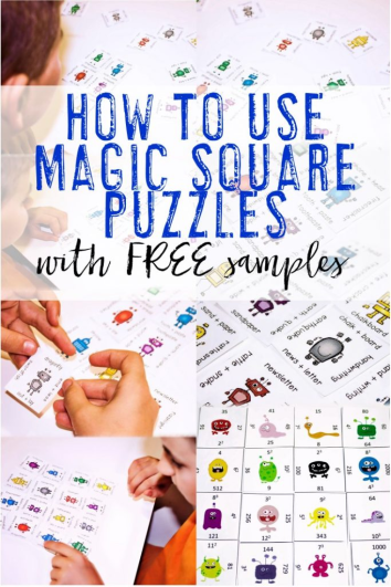 Are you wondering how to use Magic Square Puzzles? These fun, engaging math and literacy puzzles work great for centers, review, early and fast finishers, enrichment, GATE (gifted and talented education), and critical thinking skills. With this fun game format your preschool, Kindergarten, 1st, 2nd, 3rd, 4th, 5th, and 6th grade classroom or home school students will stay engaged while practicing necessary skills! {preK, Kinder, first, second, third, fourth, fifth, sixth graders, free, freebie}