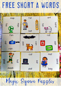 FREE Short A Literacy Center Game - Use this freebie with your preschool, Kindergarten, or first grade classroom or home school students who are ready to work on their short A CVC words. These are great for literacy centers, stations, or rotations. Also good for review, balanced literacy, ELA, reading, phonics, early or fast finishers, GATE, and critical thinking skills. Grab your FREE Magic Square Puzzles today! {preK, K, first graders}