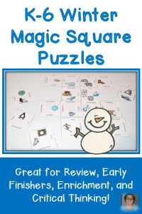 Winter Magic Square Puzzles FREEBIE for Grades K-6