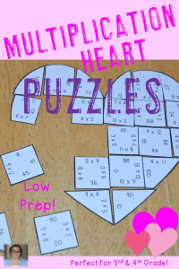 Valentine's Day Multiplication Heart Puzzles - These puzzles are perfect for math centers during Valentine's Day week. Each of the three puzzles will have students answer 36 different multiplication problems from 0x0 to 12x12. They're perfect for third or fourth grade students (or 5th graders who need review). Use them for early or fast finishers, review, enrichment, GATE, critical thinking, centers, and more! Click through to pick yours up today! $ {3rd or 4th grade}