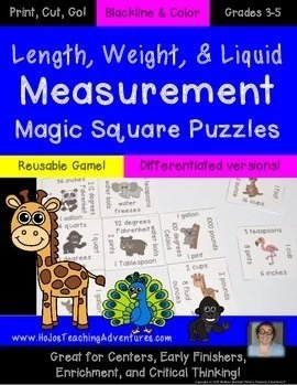 Use Magic Square Puzzles for math test prep! This puzzle helps teacher length, weight, and liquid measurement