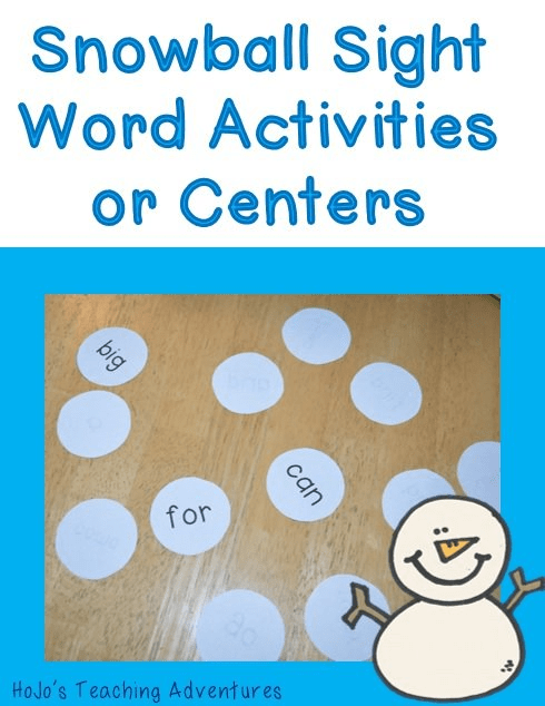 Winter Sight Word Centers & Activities for preschool, Kindergarten, and 1st Grade students
