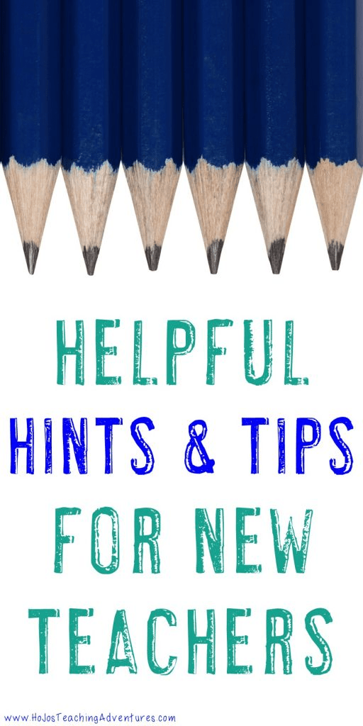 "Image with pencils stating ""Helpful Hints & Tips for New Teachers"""