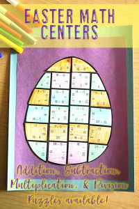 Your 1st, 2nd, 3rd, 4th, and 5th grade classroom or home school students will love being able to do math puzzles during the school year. Check out this Easter egg puzzle for March or April math stations. Your students can practice addition, subtraction, multiplication, and division math skills. Plus get a FREE download at the blog post to test out the puzzle game format. Great for math centers! {first, second, third, fourth, fifth graders, freebie, homeschool}