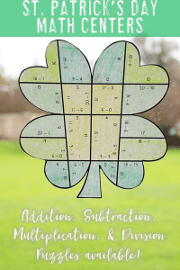 Your 1st, 2nd, 3rd, 4th, and 5th grade classroom or home school students will love being able to do math puzzles during the school year. Check out this clover puzzle for St. Patrick's Day or March math stations. Your students can practice addition, subtraction, multiplication, and division math skills. Plus get a FREE download at the blog post to test out the puzzle game format. Great for math centers! {first, second, third, fourth, fifth graders, freebie, homeschool, Saint Patrick's Day}