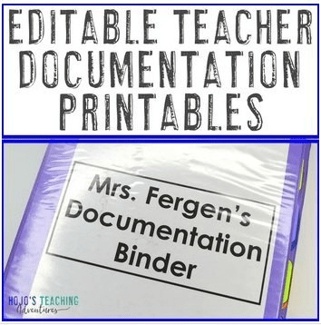 "Click here to purchase ""Editable Teacher Documentation Printables"" from Teachers Pay Teachers."