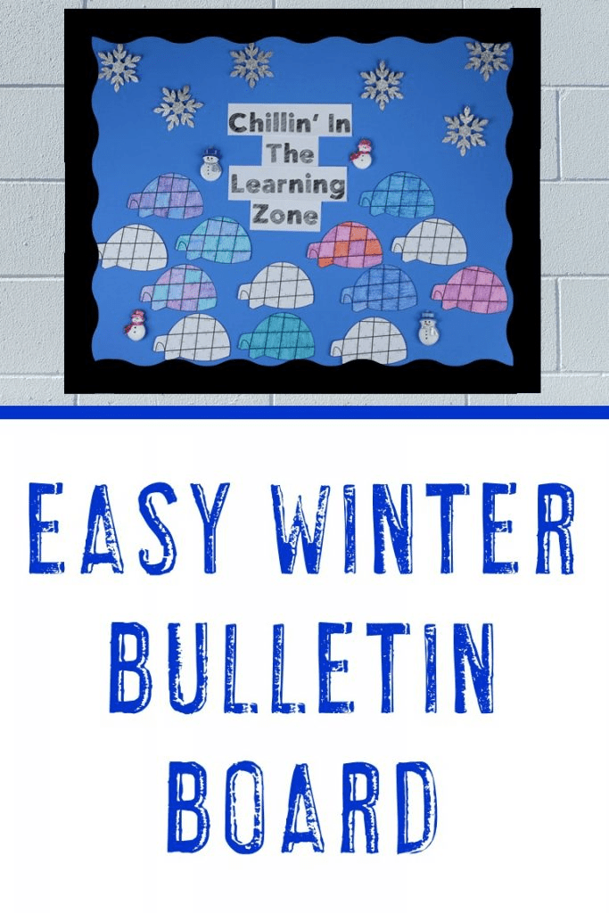 Easy Winter Bulletin Board made with Igloos