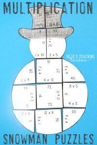 Multiplication Snowman Puzzles