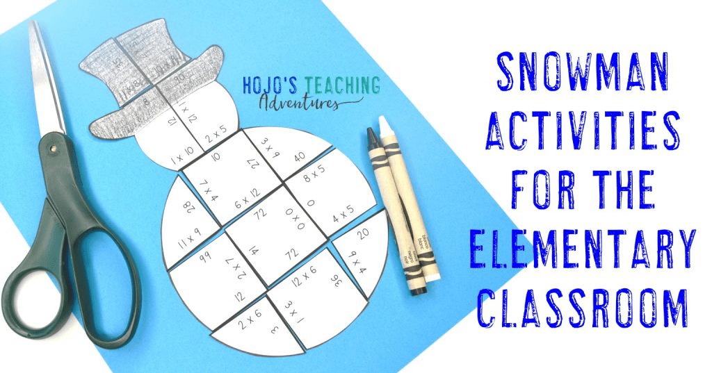 """multiplication snowman puzzle with text """"Snowman Activities for the Elementary Classroom"""""""