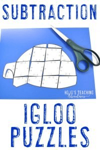 FUN Subtraction Igloo Puzzles for 1st, 2nd, or 3rd grade