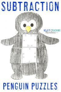 Click to purchase the SUBTRACTION penguin puzzle on TpT!